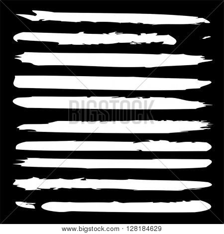 Vector large collection or set of artistic white paint hand made creative brush strokes isolated on black background