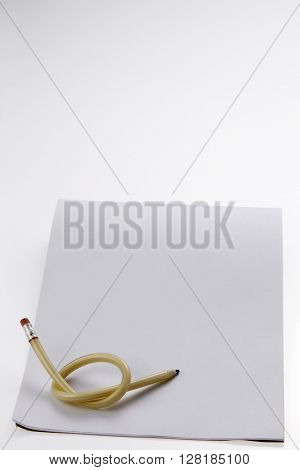 flexible pencil on a white background