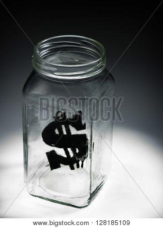 dollar sign  in the jar
