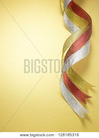 curve ribbon on the yellow background