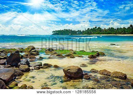 Bright sun on tropical sea