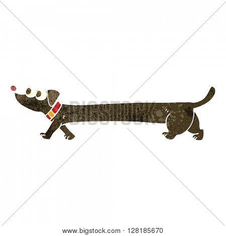 freehand retro cartoon dachshund