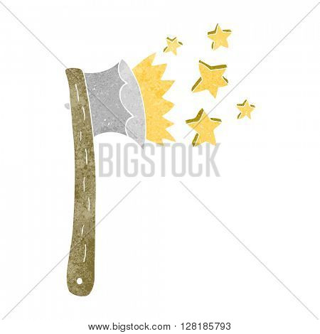 freehand retro cartoon sharp axe
