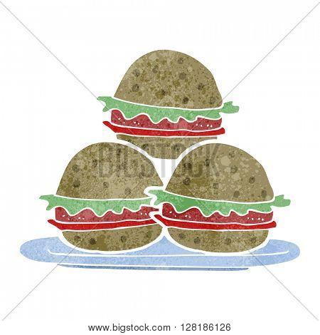 freehand retro cartoon plate of burgers