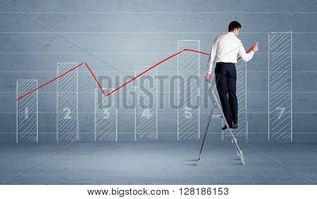 A man in elegant suit standing on a small ladder and drawing a chart on blue wall background with numbers, lines, blocks,