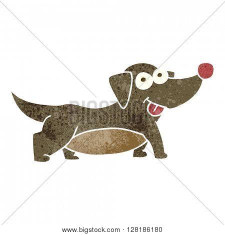 freehand retro cartoon happy little dog