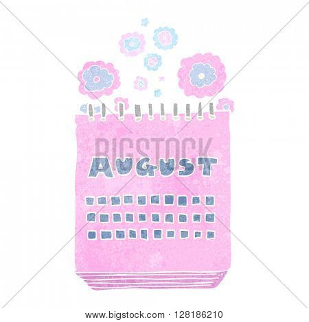 freehand retro cartoon calendar showing month of august
