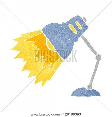freehand retro cartoon shining lamp