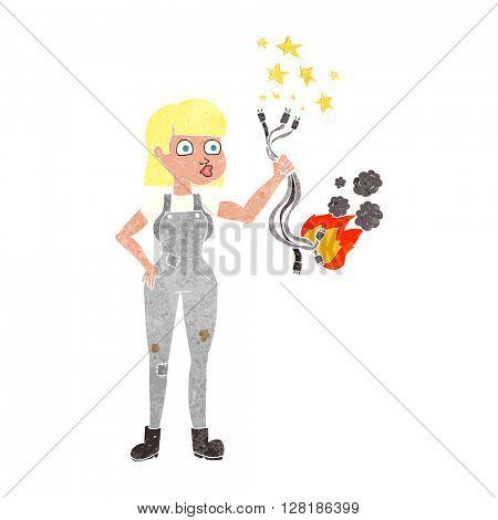 freehand retro cartoon female electrician