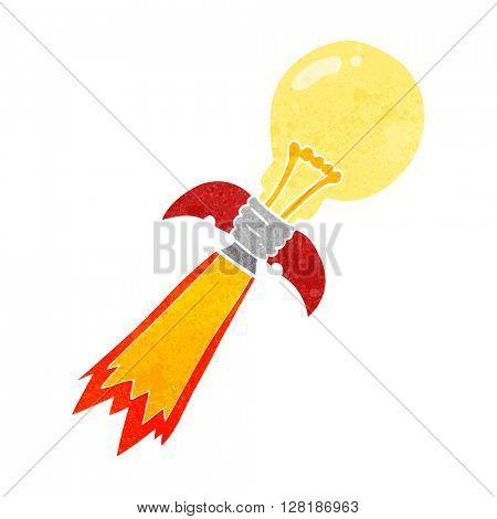 freehand retro cartoon lightbulb rocket ship
