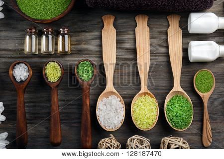Spa composition on wooden background