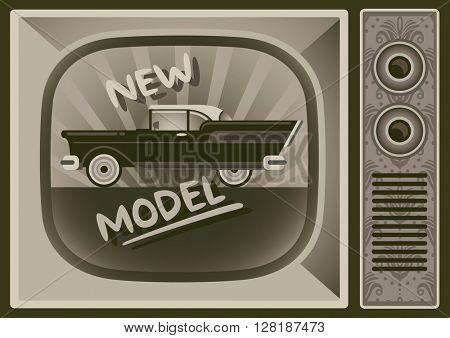 Vintage car television commercial. Vector illustration.