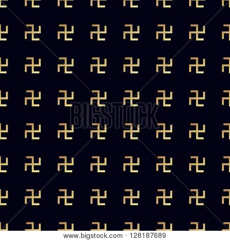 Swastika seamless pattern. Rotating cross, an ancient religious symbol of the sun, good luck, prosperity. Swastika symbol in Hinduism, Buddhism and Jainism
