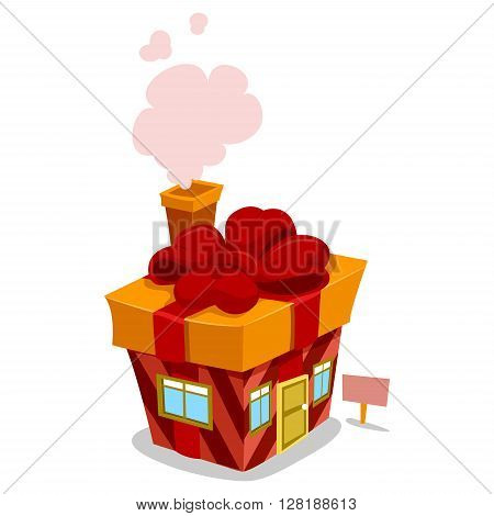 Vector Illustration of a Gift House with smoke chimney