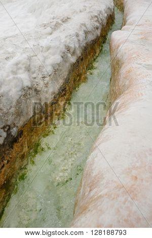 Natural pools at Pamukkale, close up