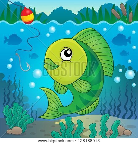 Freshwater fish topic image 5 - eps10 vector illustration.