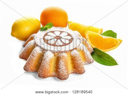 Delicious citrus cake with lemons and oranges on white background