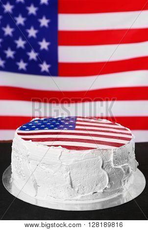 American flag cake, on black wooden background