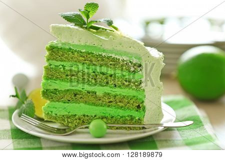 Piece of tasty lime cake, close up