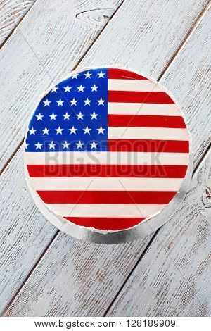 American flag cake, on wooden background