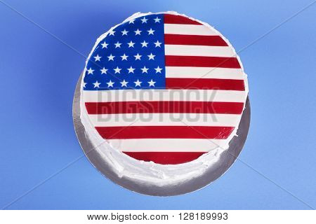 American flag cake, on blue background