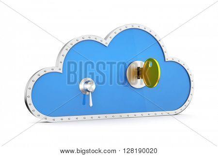Cloud and safe lock. 3d illustration
