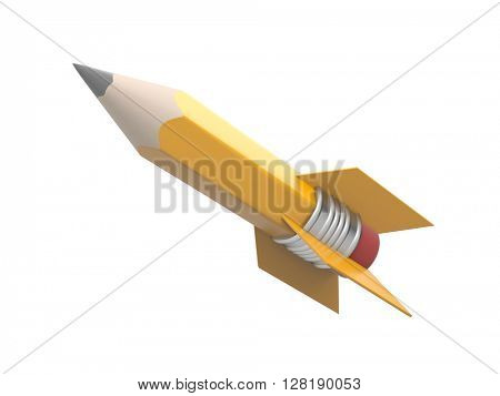 Rocket in the form of pencil. 3d illustration