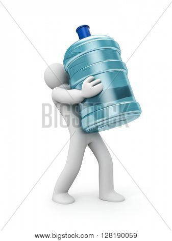 Water delivery. 3d person carrying a water bottle. 3d illustration