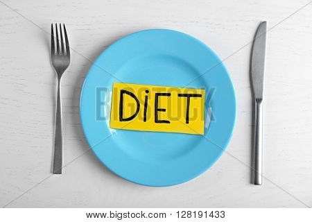 Word Diet with empty plate on white table