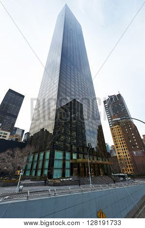 NEW YORK CITY - MARCH 28: Street view of Trump World Tower on March 28 2014 in New York, USA