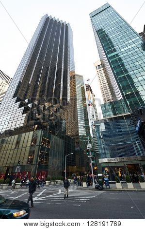 NEW YORK CITY - MARCH 28: Street view of Trump Tower on March 28 2014 in New York, USA