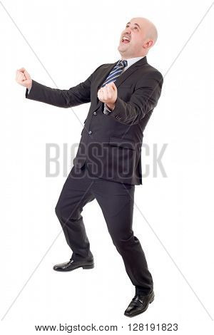 young business man winning, full length, isolated on white