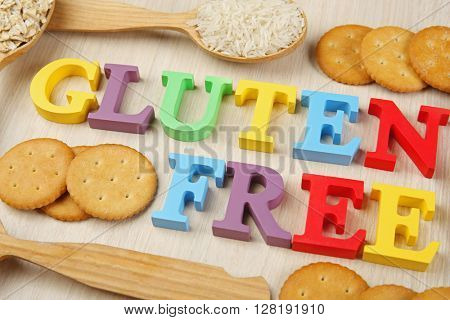 Gluten Free products on wooden background