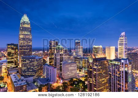 Charlotte, North Carolina, USA uptown skyline at night.