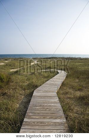 Wooden pathway to beach on Bald Head Island, North Carolina.