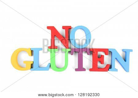 Phrase NO GLUTEN made of colorful letters isolated on white
