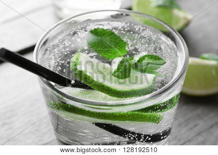 Glass of lemon soda, close up
