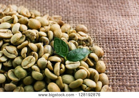 Green coffee beans on sackcloth