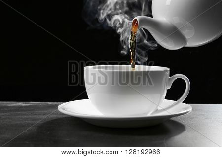 Pouring tea in cup