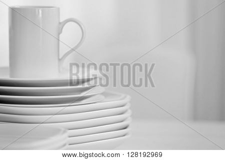 Set of dishes for breakfast, close up