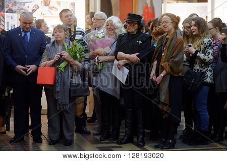 ST. PETERSBURG, RUSSIA - FEBRUARY 25, 2016: Russian artist Mikhail Shemyakin (center) during the celebration of 140th anniversary of Art and Industry Academy named after Alexander von Stieglitz