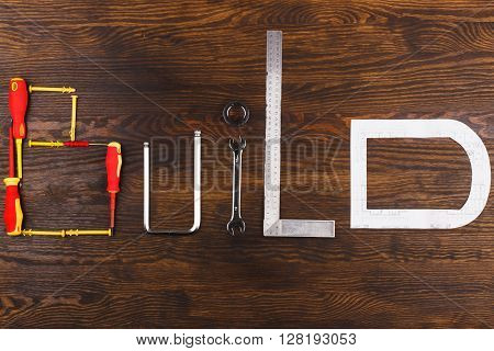Set Of Construction Tools On The Board