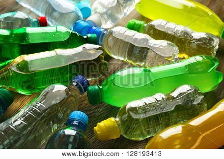 Bottled water on the wooden table,close up
