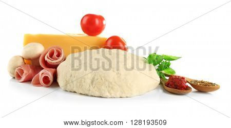 Fresh dough and other different ingredients for pizza isolated on white