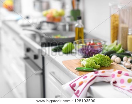 Vegetables on a kitchen table