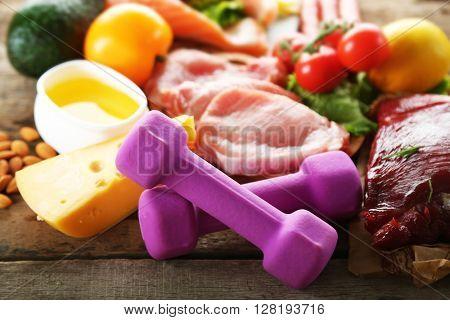 Diet food on wooden background