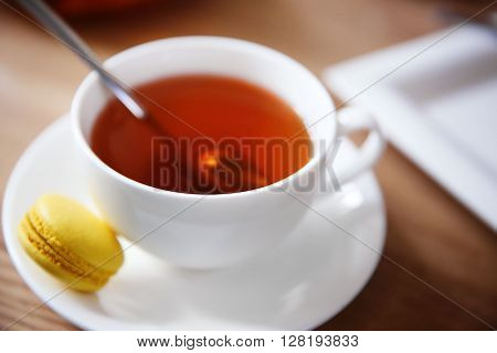 Cup of tea on table in cafe or restaurant