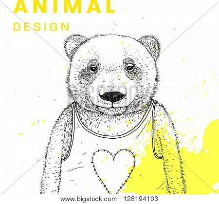 Hand Drawn Bear. Vector Graphic Illustration. Love Heart