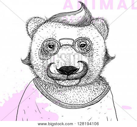 Hand Drawn Bear with Mustache, Eyeglasses and Whiskers. Retro Fashion Style. Vector Graphic Illustration.