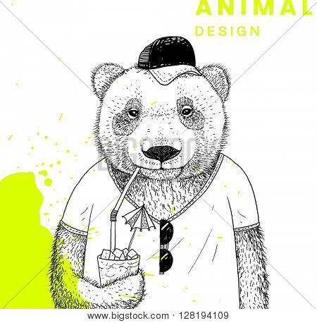 Hand Drawn Bear. Vector Graphic Illustration. Summer Style.